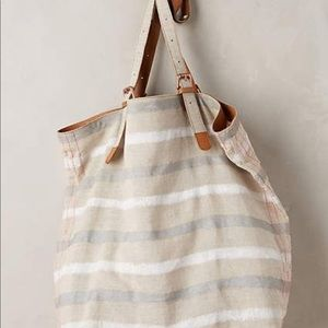 Anthropologie Striped Linen Tote Bag